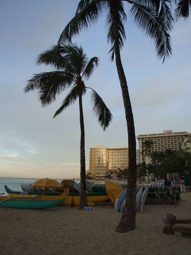 sunrise and surf in waikiki